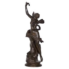 "Antique Art Nouveau French Bronze Sculpture of ""The Dream"" by Lucien Pallez"