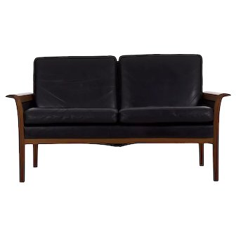 Hans Olsen Danish Mid Century Modern Leather Loveseat Sofa