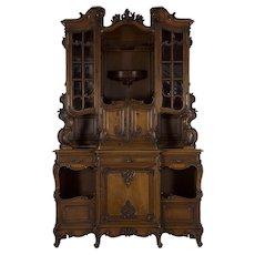 Antique English Rococo Revival Cabinet Server Buffet Deux Corps c. 1880