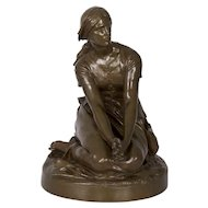 "Antique French Bronze Sculpture ""Joan of Arc"" after Henri Chapu by Barbedienne"
