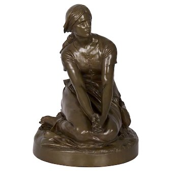 """Antique French Bronze Sculpture """"Joan of Arc"""" after Henri Chapu by Barbedienne"""