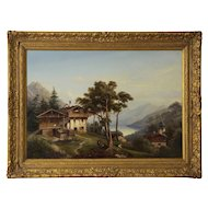 Circa 19th Century Antique German Landscape Painting by Hermann Seefisch