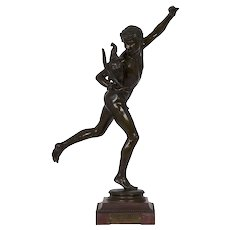 "19th Century French Antique Bronze Sculpture ""Winner of Cockfight"" by Alexandre Falguiére"