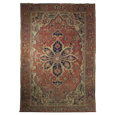 Antique Room Size Worn Heriz Serapi Rug Carpet circa 1890-1910