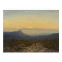 Antique 19th Century Oil Landscape Painting of Shepherd by J. Hoppenbrouwers c. 1864