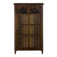 Antique Biedermeier Style Walnut Display Cabinet Bookcase, late 19th century