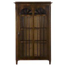 Antique Biedermeier Style Walnut Display Cabinet Bookcase, late 19th century