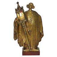 French Art Nouveau Bronze Sculpture Antique Table Lamp by Léo Laporte-Blairsy