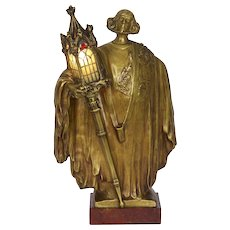 French Art Nouveau Bronze Sculpture Antique Table Lamp by Léo Laporte-Blairsy
