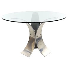 Vintage Modern Curved Aluminum and Glass Center Round Table c. 1970s