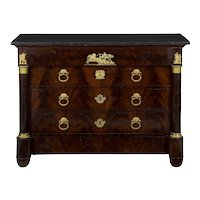 19th Century French Empire Antique Mahogany Commode Chest of Drawers