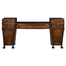 English Regency Antique Mahogany Sideboard Server w/ Lion Heads circa 1810