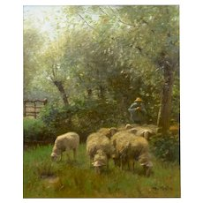 """Shepherd w/ Sheep"" Barbizon Oil Painting by Francois Ter Meulen (Dutch, 1843-1927)"