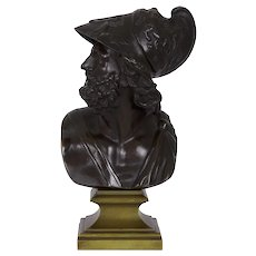 19th Century French Antique Bronze Bust Sculpture of General Ajax or Menelaus