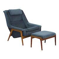 Folke Ohlsson 1960s Mid Century Modern Lounge Chair & Ottoman