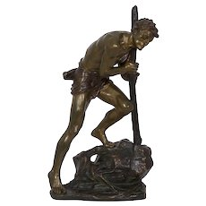 Art Deco Bronze Sculpture of Labor by Edouard Drouot (French, 1859-1945)