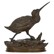 French Bronze Sculpture of Sandpiper by Paul Delabrierre, 19th Century