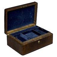 19th Century Tiffany & Co Snake Skin Antique Jewelry Box, Bramah