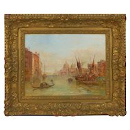Authentic Antique Oil Painting of Grand Canal, Venice by Alfred Pollentine, Signed, 1889