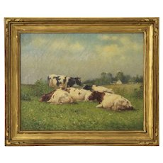 Pastoral Landscape Antique Painting of Cows by Frank Russell Green (American, 1856-1940)