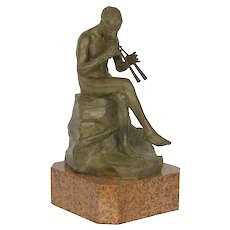 """Seated Pan"" Bronze Sculpture by Giacomo Scarantino, cast by Roman Bronze Works"