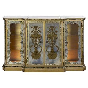 French Art Deco Eglomisé Smoked Mirror Bar Server Console, c. 1940s