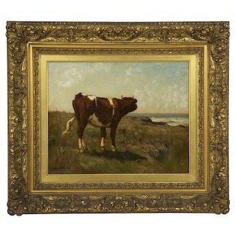 Barbizon Antique Landscape Painting of a Cow by J. Carleton Wiggins