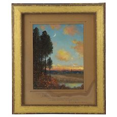 """Authentic Signed """"New Moons"""" Antique Landscape Painting by Frank Russell Green"""
