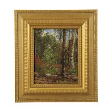 Authentic Forest Landscape Painting by Frank Russell Green (American, 1856-1940)