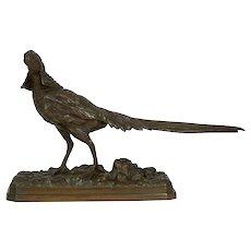 19th Century French Antique Bronze Sculpture of Golden Pheasant after Henri Trodoux