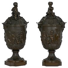 19th Century Pair of Napoleon III Antique Bronze Urns w/ Putto Relief