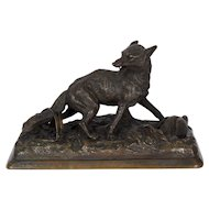 Rare Antique French Bronze Sculpture of Fox by Alfred Dubucand