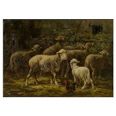 French Barbizon Antique Oil Painting of Sheep in Barn by Albert Charpin