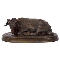 Antique French Bronze Sculpture of a Resting Ram by Rosa Bonheur
