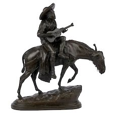 """""""Spanish Guitar Player"""" Antique French Bronze Sculpture by Isidore Bonheur"""