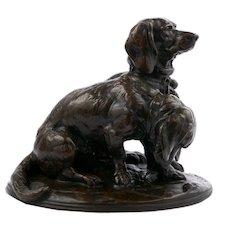 """Antique Bronze Sculpture """"Ravegeot Et Ravageole, Chiens Bassets"""" after Emmanuel Fremiet"""