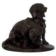 Emmanuel Fremiet Bronze Sculpture Model of Two Basset Hounds