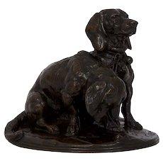 Emmanuel Fremiet Bronze Sculpture Model of Two Basset Hounds