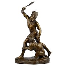 French Antique Bronze Sculpture of Indian Warrior by Thomas Cartier