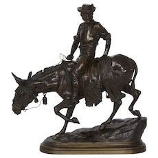 """Spanish Rider"" Antique French Bronze Sculpture by Isidore Bonheur"