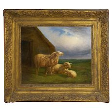 Authentic Antique Pastoral Landscape Oil Painting of Sheep | Eugene Verboeckhoven (1862)