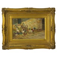 """Farmyard with Poultry"" Antique Oil Painting by Jacques van Coppenolle"