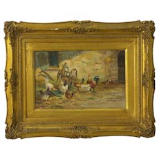 """""""Farmyard with Poultry"""" Antique Oil Painting by Jacques van Coppenolle"""
