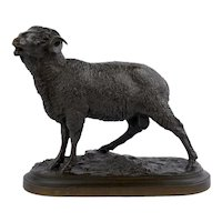 """Merino Ram"" French Bronze Sheep Sculpture by Isidore Jules Bonheur, Peyrol Foundry"