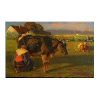 """""""Milking Time"""" (1906) Landscape Painting of Cows by Albert Reibmayr (Austrian, 1881-1941)"""