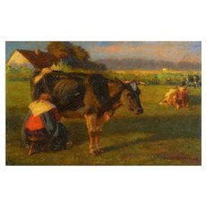 """Milking Time"" (1906) Landscape Painting of Cows by Albert Reibmayr (Austrian, 1881-1941)"