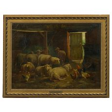 Painting of Sheep in Barn by Cornelis van Leemputten (Belgian, 1841-1902)