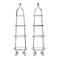 Pair of Vintage Green Painted Iron Etageres Displays w/ Glass Shelves, 20th Century