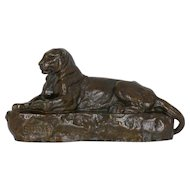 "French Bronze Sculpture after Antoine-Louis Barye, ""Panther of India, no. 1"""