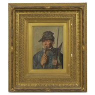 "19th Century Oil Painting of a ""16th Century Pikeman"" Soldier's Portrait"
